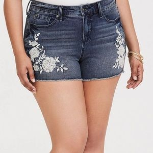 Torrid Shorts Embroidered High Rise Jean Shorts